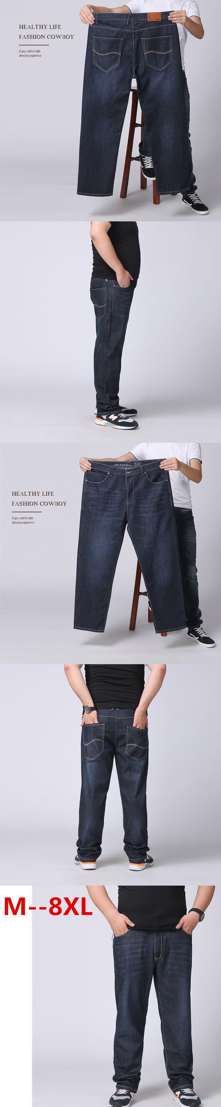 Plus size 10XL Oversized jeans fat 300 pounds extra large fat PANTS Big men 160kg thin waist trousers 6XL 7XL 8XL 60 big Szie