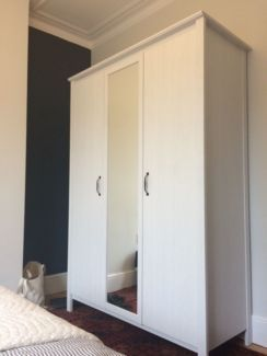 IKEA Brusali White 3 Door Wardrobe With Mirror