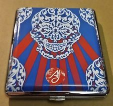Ami James Ink Silver Framed Double Sided PU Leather 100s Cigarette Case Style #4