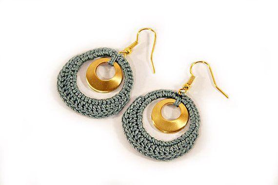 Earrings crocheted gold petrol crochet jewelry por MudenoMade
