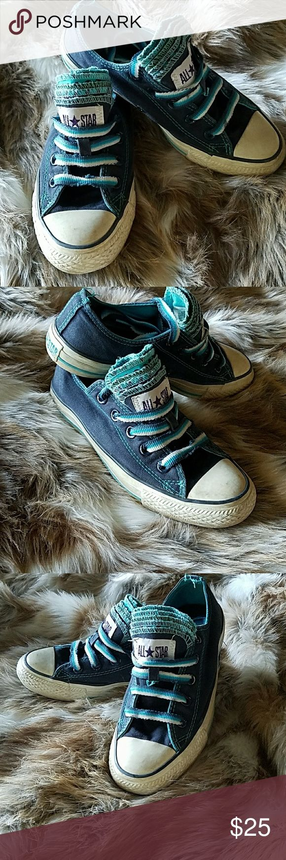 CONVERSE BLUE 5 TONGUE ALLSTARS CONVERSE BLUE 5 TONGUE ALLSTARS. FUNKY FLIRTY CUTE! TOMBOY MODE! ADORABLE WITH BOYFRIEND JEANS AND A VINTAGE ROCKER TEE! GOOD PRELOVED CONDITION.SMOKE FREE. LOTS OF LIFE LEFT! Converse Shoes