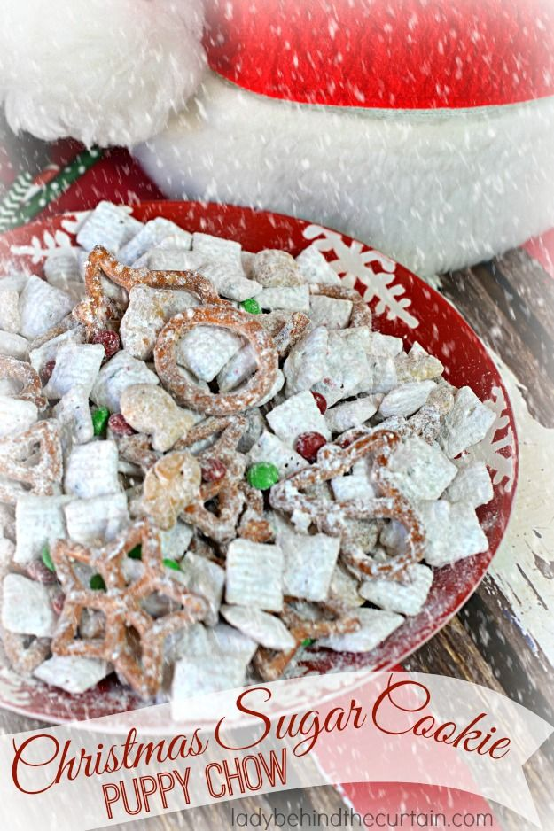 Serve Santa this Christmas Sugar Cookie Puppy Chow instead of cookies this year. Maybe add an extra bag for Santa to take to the elves! Full of Christmas