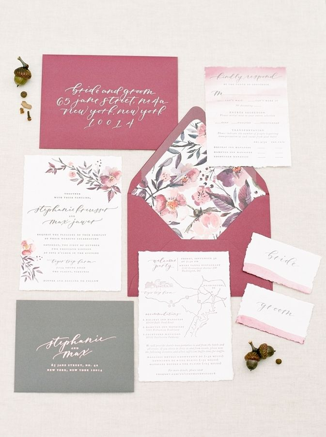 Maroon and floral wedding invitation stationary