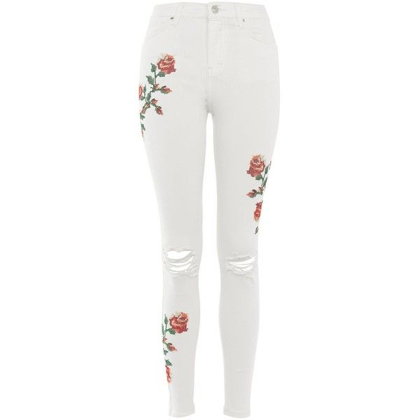 Topshop Moto Embroidered Jamie Jeans (£59) ❤ liked on Polyvore featuring jeans, pants, topshop, white, white skinny jeans, high-waisted skinny jeans, high rise white jeans, white jeans and white high waisted jeans