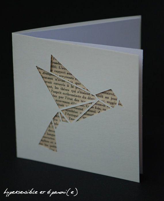 Carte postale Oiseau Origami découpe  fond livre par SensitiveLife