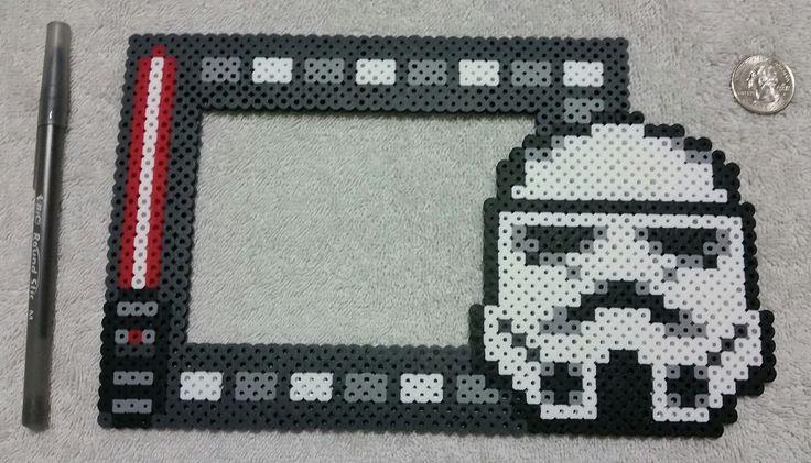 Star Wars Stormtrooper Photo Frame Hama Beads by PerlerHamaParadise