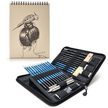 AGPtek 41pzas Set de Dibujo para Hacer Bocetos, Estuche de Lápices Gráfito con Cuaderno de Bocetos(60 Hojas), Incluye Tizas Borradores etc, Perfecto para Viaje, Excelente para Principantes y Profesionales