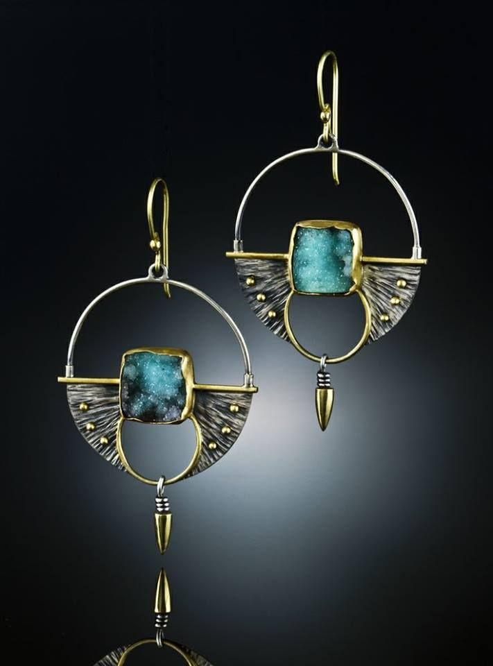 Earrings by Amy Buettner & Tucker Glasow Studio. Druzy Chrysocolla, Sterling Silver 18k gold http://www.amybuettner.com/