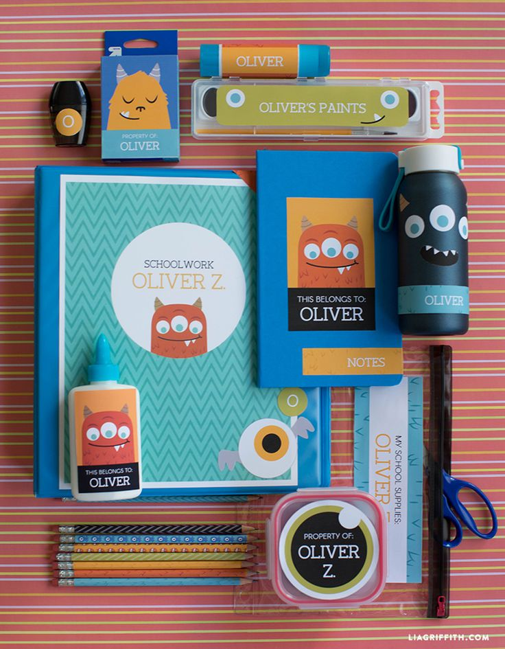 Kids will love labeling their school supplies with these adorable monster-themed back-to-school labels from Lia Griffith. Download the PDF, customize with your kids' names, print and apply.