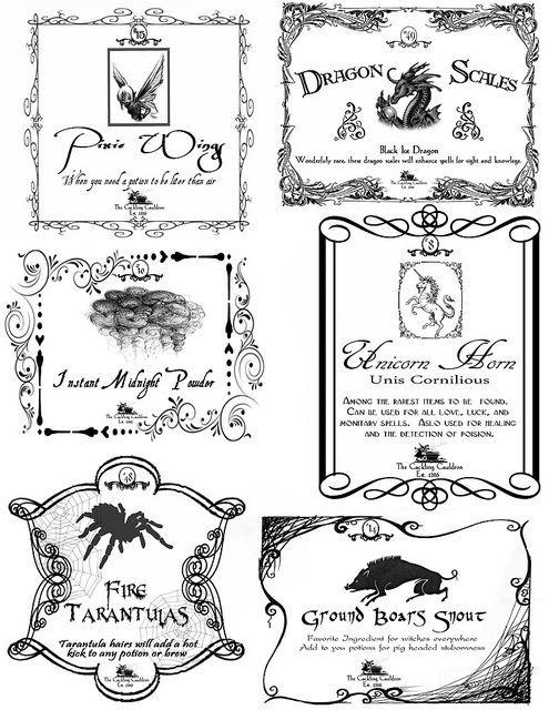 Free Printable Halloween Potion Bottle Labels