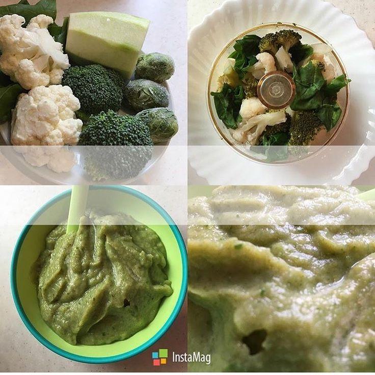 Зелёный обед из капуст от @od_vkusnoe_pravilnoepitanie  Рецепт📖:🔸капуста брокколи/цветная/брюссельская🔸кабачок🔸шпинат🔸оливковое масло🔴готовим овощи на пару, блендерим и овощной зелёный полезный обед для ваших крошек готов #gotovimdetyam_пюре