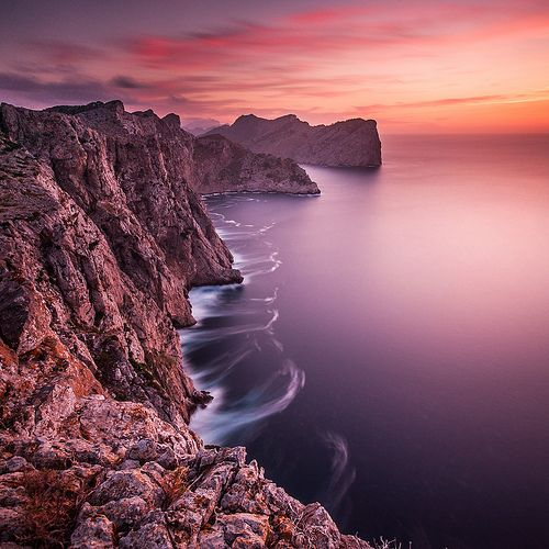 Beautiful sunset above the cliffs at Cap de Formentor in the Spanish island of Mallorca, Spain