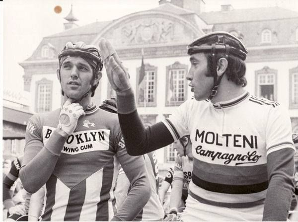Roger De Vlaeminck (rode for Brooklyn 73-77) and Eddy Merckx (rode for Molteni 71-76).  The coolest dudes in cycling with iconic jerseys! 👍🚲 #ciclismo #bici #bicicleta #procycling #bike