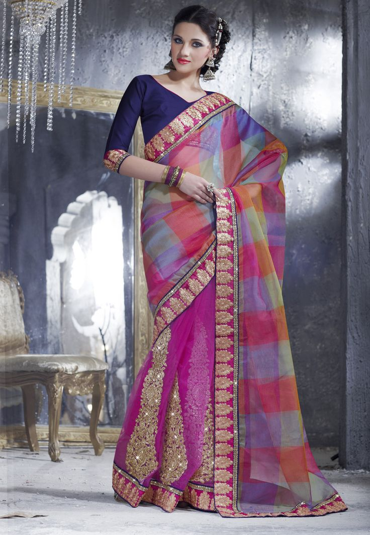#Pink Net #Saree With Blouse http://www.shopcost.in/saree