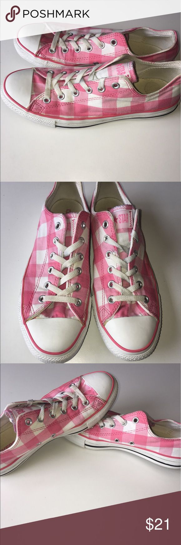 Converse low top Pink plaid Size 8 Converse low top Pink Plaid. No holes or major probs. In good condition.  Size 8 Converse Shoes Sneakers