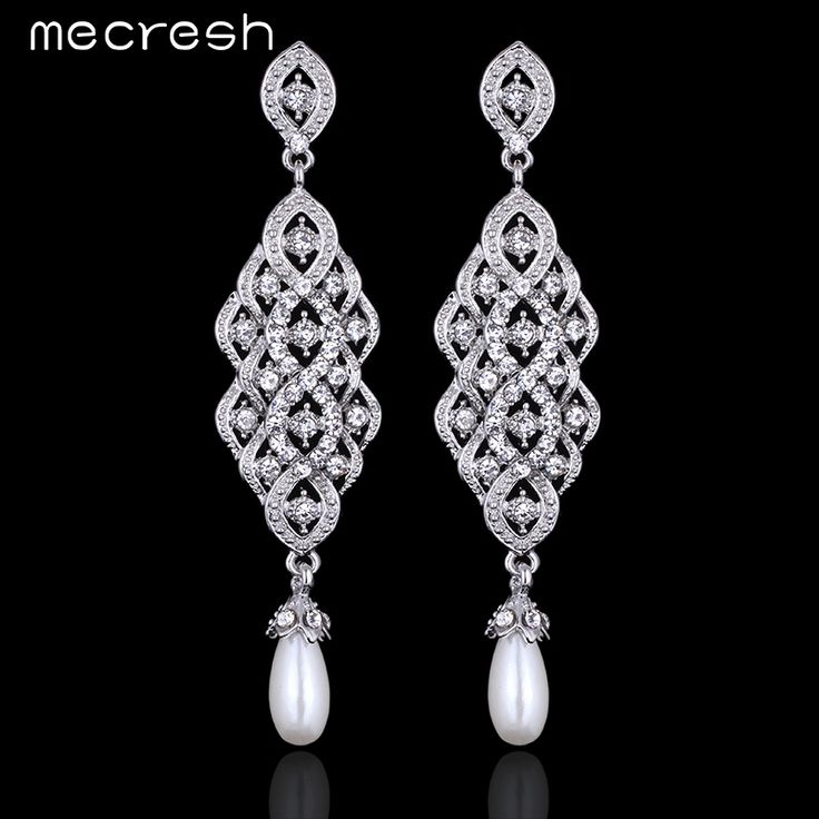 Mecresh 2017 New Crystal Imitated Pearl Jewelry Exquisite Vintage Long Drop Earrings for Women Wedding Jewelry EH618