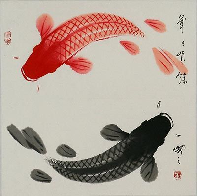 for Japanese koi carp paintings