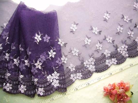 Violet Embroidered trim tulle lace embroidered by raincrazy133, $9.99
