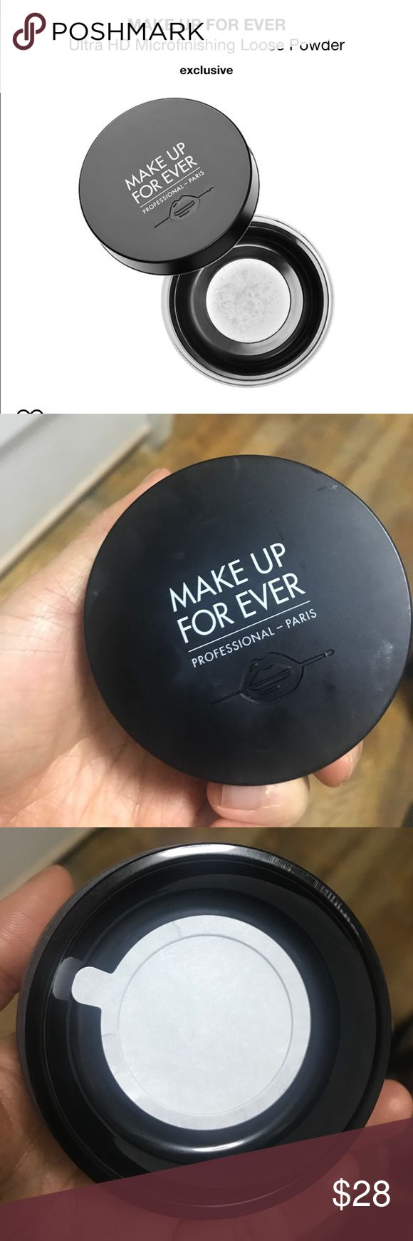 Make up forever HD loose powder brand new The last step in your make up routine, this finishing powder blur the look of your skin's imperfections. Revamped and now more transparent, weightless, and blurring than ever, this is the ultimate finishing powder. The silicon-based formula delivers a naturally matte, light-diffusing effect, while minimizing the appearance of pores and fine lines. Formulated to look invisible, this loose power is perfect for every skintone with a non-drying formula…