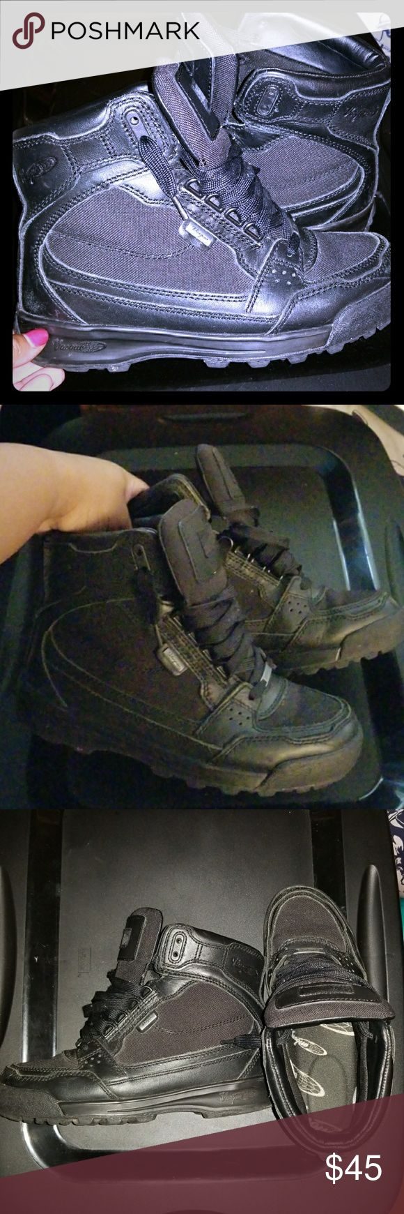 Vasque Gore-Tex Contender Hiking Boots (Boys) All black Vasque Contender Hiking Boots Boys Size 5 1/2   Worn. Good condition. Great for winter, hiking, security work and a variety of other uses. Photos take with and without flash to show true color. Vasque Shoes Boots