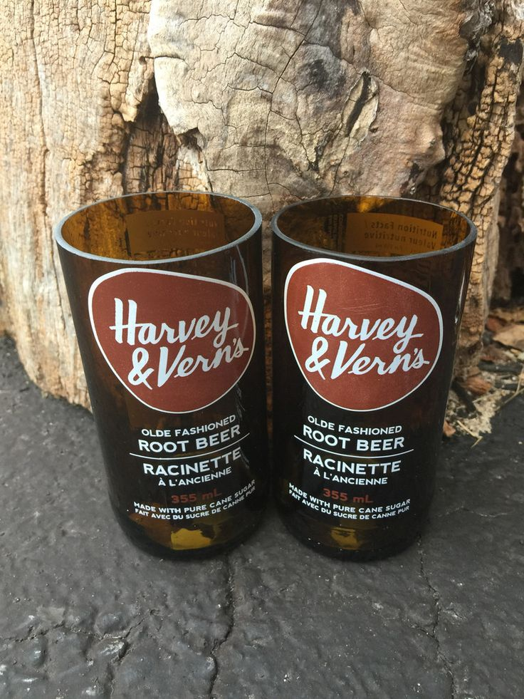 Harvey & Vern's Root Beer Soda - Upcycled Drinking Glass- Set of 2