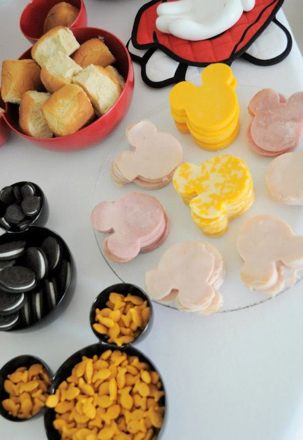 Mickey Mouse Party - gold fish in a Mickey bowl (tape 2 little bowls to a large one) ... And those cold cuts!!