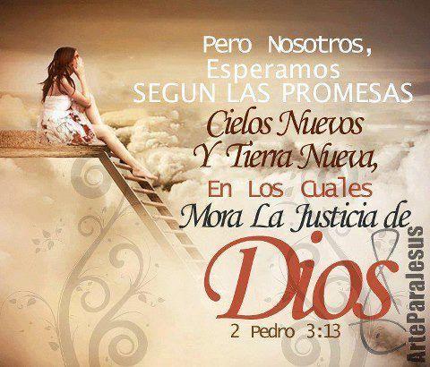 pero nosotros esperamos seguna las promesas, cielos nuevos, y tierra nueva, en las cuales mora la justicia de Dios.. 2 Pedro 3:13 /Frases ♥ Cristianas ♥ #frasescristianas