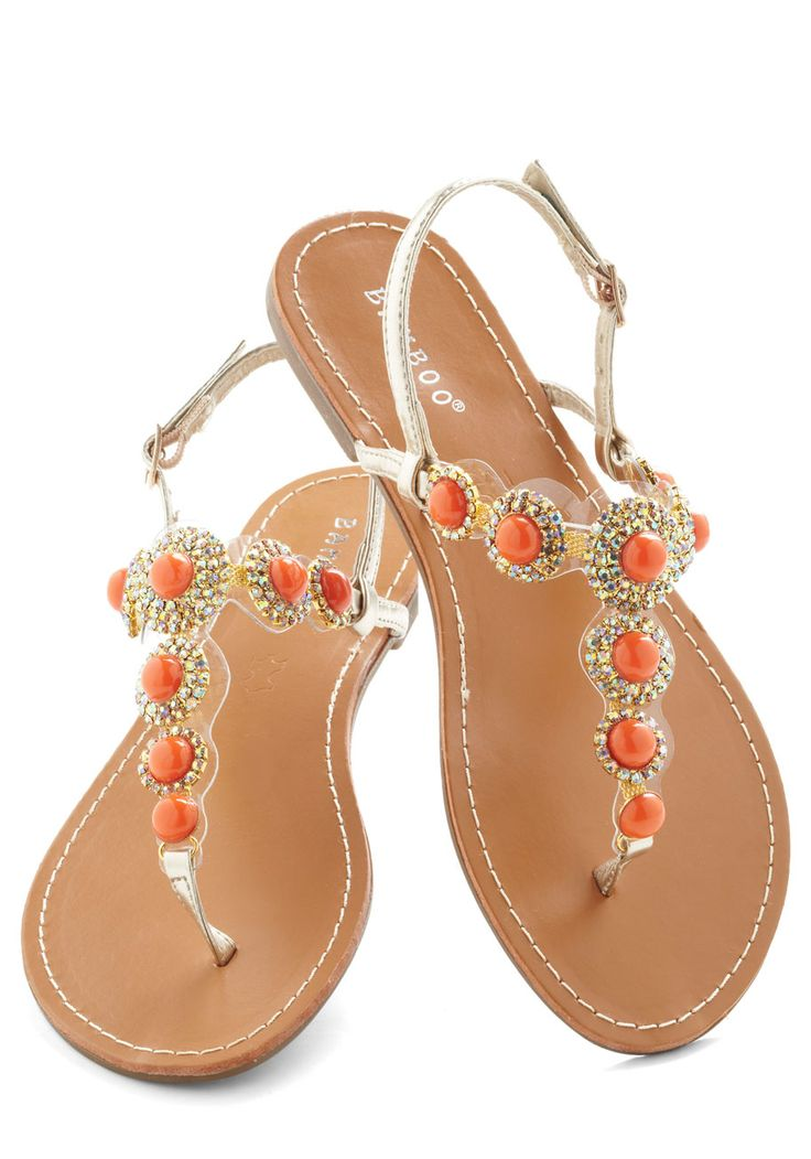Coral That Jazz Sandal - Orange, Gold, Rhinestones, Luxe, Statement, Summer, Flat, Leather, Silver, Daytime Party, Beach/Resort @32.99