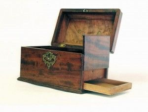 Wooden Tea Caddy with Secret Drawer Compartment