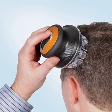 I bet this is for those men that want to do everything themself.  The Single Handed Barber - Hammacher Schlemmer