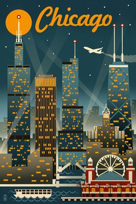 Chicago Illinois - Retro Skyline - Lantern Press Original Poster