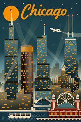 Chicago Illinois - Retro Skyline - Lantern Press Original Poster