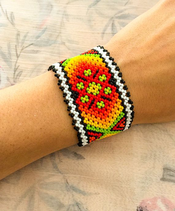 Mexican Huichol beaded bracelet