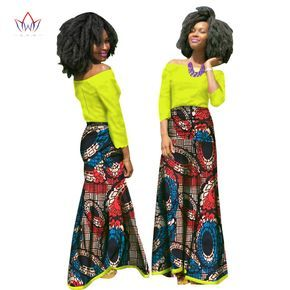 2017 African Women Clothing Brand African Vestido 6XL Wax traditional african clothing 2 pieces for Women Skirt Set BRW WY1584
