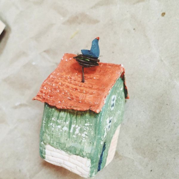 Tiny little houses with bird by milkypeople on Etsy
