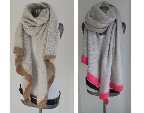 Damen Kaschmir Schal Wendeschal Strick Dick Warm Tuch Winter Stricken Schals