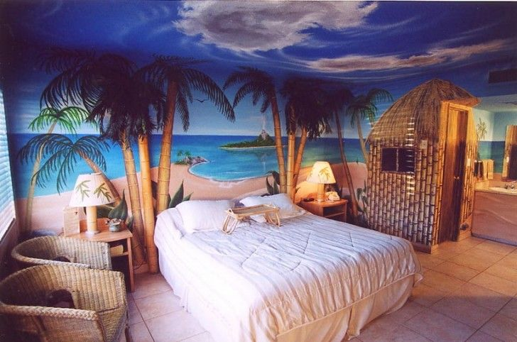 Tropical beach bedroom. May just as well dream big...