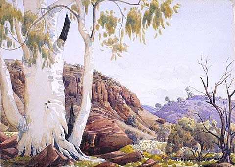 Ghost Gum Scene near Gosse Range by Albert Namatjira