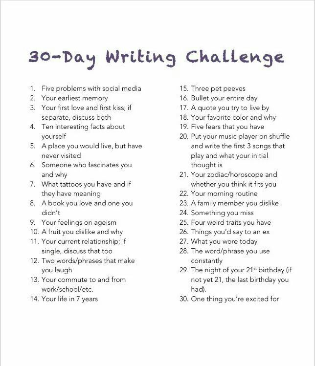 A 30-Day Writing Challenge                                                                                                                                                                                 More                                                                                                                                                                                 More
