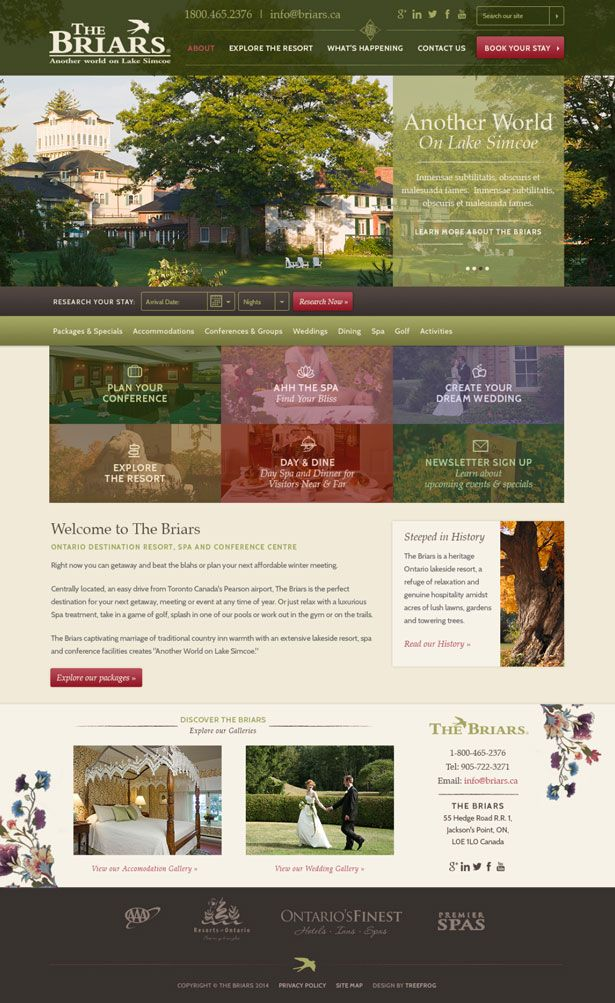 The Briars - Web Design | Treefrog Inc.