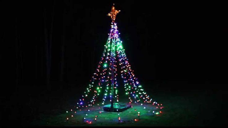 twinkling tree of lights diy from basketball hoop our favorite diy ideas outdoor. Black Bedroom Furniture Sets. Home Design Ideas