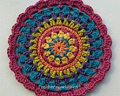 Colourful crochet table mat in bright vintage shades