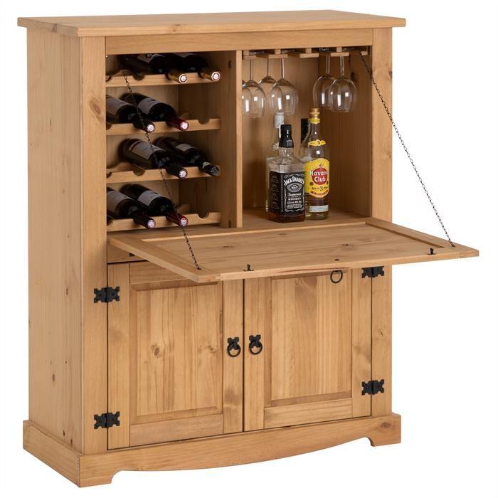 Meuble Bar A Vin En Pin Tequila Style Mexicain Finition Ciree Meuble Bar Range Verre Range Bouteille