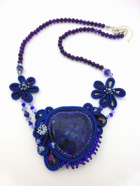 Синее ожерелье с ляписом сутаж сутажная от ZinaDesignJewelry, $110,00