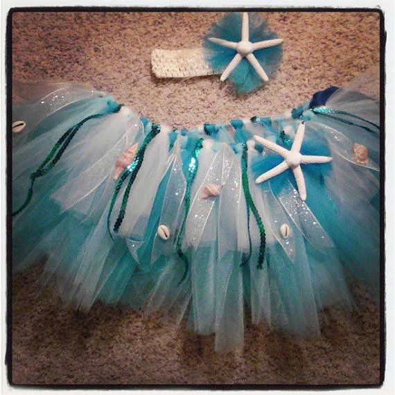Beach tutu and headband with real starfish and by TuTuAdorable4you, $40.00