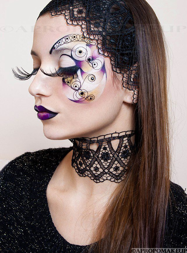 Artistic crystal enhanced purple, yellow and black fantasy make-up with awesome lashes and black lace accents by Maria Lihacheva Make-up Artist.