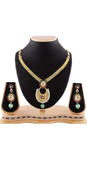 Women's Creative Necklaces in Red,Green And Gold Color.