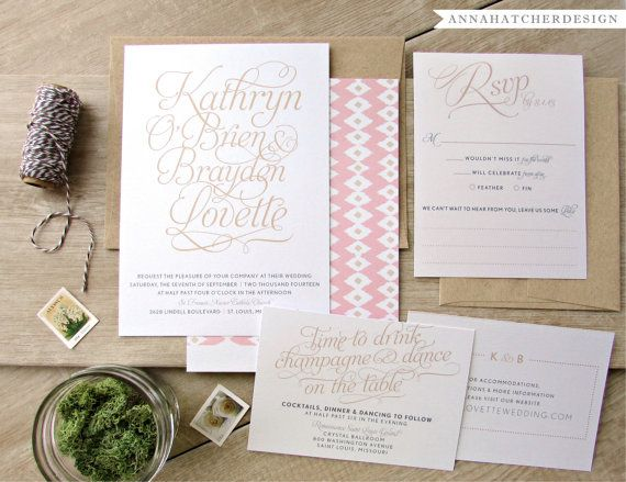 Just My Type Wedding Collection - Invitation, Reply Card, Enclosure Card - FREE Shipping, FREE Printed Proof - Modern yet elegant with the bride and grooms name in large, beautiful script. Tribal print backer option. Shown in Champagne, Blush Pink, and Gray on Metallic Pearl Paper; but can be customized to any color. Envelope printing available.