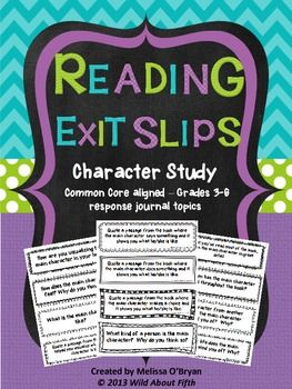"These Character Study Reading Exit Slips will organize your ""character study"" mini-lessons and keep you and your students accountable for reading and responding with purpose during Reading Workshop.  Included in this set are 46 exit slips/response journal prompts that focus on visualizing, quoting passages, character feelings, traits, actions, dialogue, personality, description, change, conflict/resolution, theme, lessons learned, comparisons, connections, self reflection and much more. $"