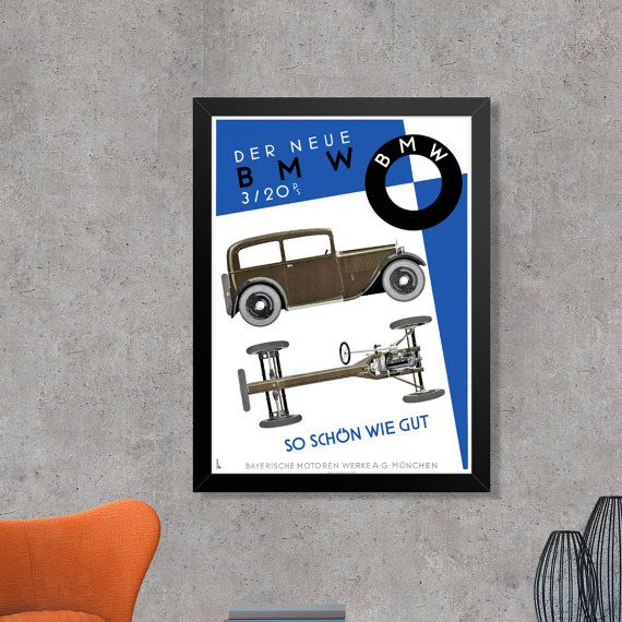 BMW Bavarian Motor Works Vintage Art Deco Car by FoxgloveMedia